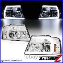04-08 Ford F150 Chrome Cyclop Optic Neon Tube LED DRL Projector Headlight Lamp