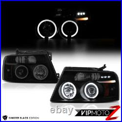 2004-2008 Ford F150 Lobo SINISTER BLACK Halo Angel Eye DRL Projector Headlight