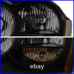 For 05-07 Jeep Grand Cherokee Darkest Smoke Sinister Black Headlight Left Right