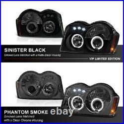 SINISTER SMOKE BLACK LED Halo Ring Headlight Lamp For 05-07 Jeep Grand Cherokee