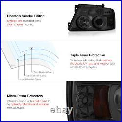 SMOKE CHROME Dual LED Halo Angel Eye Projector Headlight 04-08 Ford F150 Truck