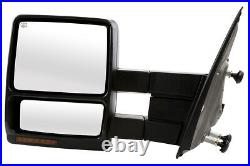 Side View Mirror Tow Power Heated Signal Black Pair 2 for 2007-2012 Ford F-150