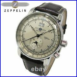 Zeppelin Watch 100th Anniversary Model White Brown Mens Quartz 7640-1 Japan